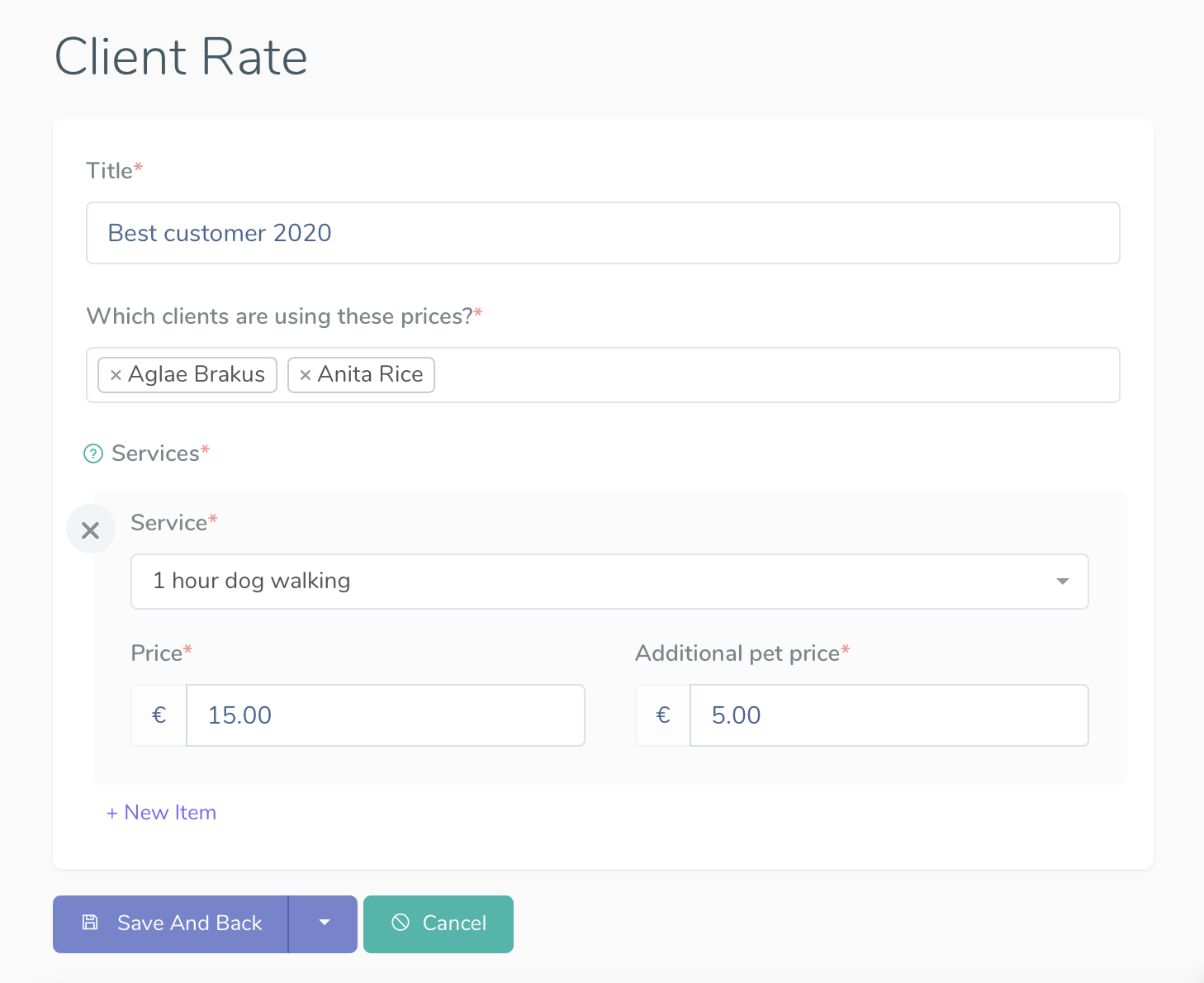 Client rate